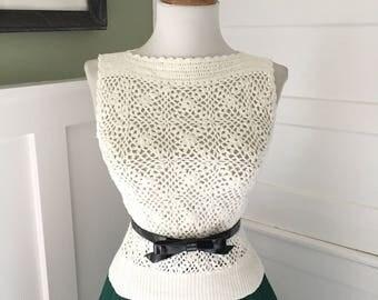 Sexy Snug Vintage 1960s 1970s Off White Knit Sleeveless Crochet Sweater Tank Top
