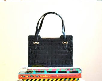 SALE 50s Vintage Black Leather Bag Crocodile Handbag Purse from Saks Fifth Avenue Made in France