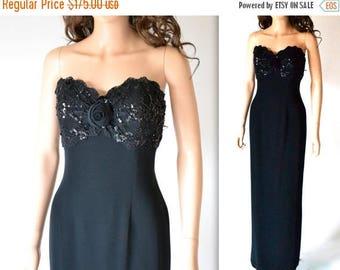 50% OFF SALE Vintage Black Evening Gown// Black Strapless Sequin Dress By Bizar// 90s Vintage Black Beaded Dress Size Medium