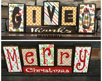Reversible Christmas and Thanksgiving wood blocks-Give thanks reverses with Merry Christmas(red)