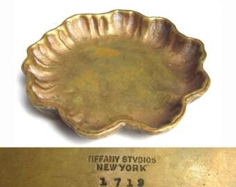 Tiffany Studios Bronze Ashtray Dish Small Bowl # 1719 Authentic ANTIQUE 1900s