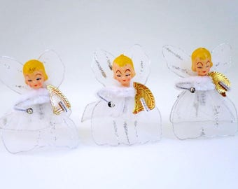 Vintage Christmas Tree Angels 3 Tulle Angel Ornaments, Vintage Chenille Pipe Cleaner Angels, Gift Ties, Package Decor, Kitsch Angels, Crafts