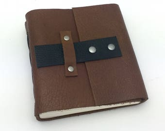 Saddle Brown Leather Sketchbook, Journal, In Stock, 5 x 4 1/2 inches