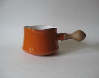 Dansk France midcentury vintage  IHQ Kobenstyle metal orange enamel bowl with teak handle nifty condition melting pot