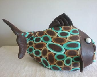 Fish Shaped Cat Bed Dog Bed Brown and Teal Blobs Pet Beds