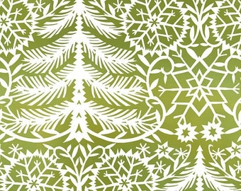SALE 10% Off - Paper Cut Trees Green (6JPF3) - KALINKA by Julie Paschkis for In the Beginning Fabrics - Christmas - By the Yard