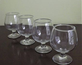 Brandy Snifter, Clear Snifter Glass, Set of 4 Mini Wine Glasses, Wine Tasting Goblets, Barware, Small Stemmed Glass, Sherry Glass