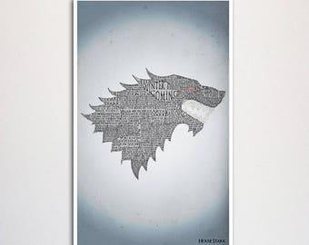"Game of Thrones Stark word art print - 11x17"""