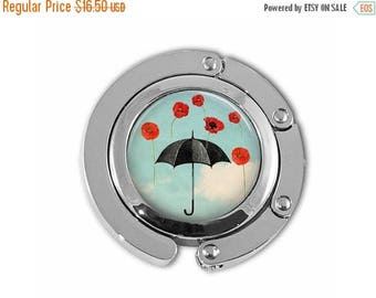 ON SALE Raining Red Poppies Black Umbrella Poppy Flower Purse Hook Purse Hanger Handbag Holder Umbrella Hanger