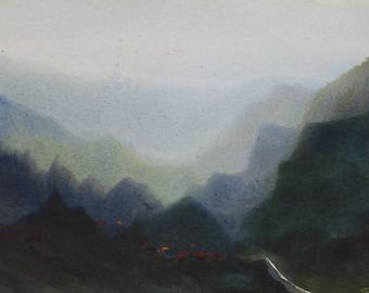 Mysterious Himalaya - Original watercolor painting on paper ,Himalaya,painting,paper,landscape