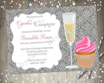 Cupcakes and Champagne Bridal Shower Invitation Invite Bubbly and Brunch Wedding Shower Invitation Invite Bachelorette Party Bridal