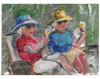 Original acrylic figurative painting 5x7 Women in hats drinking wine