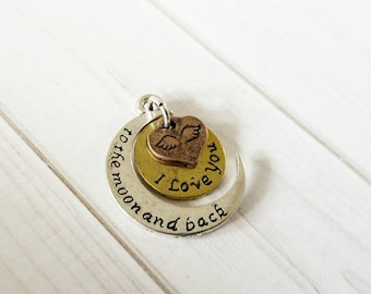 I Love You to the Moon and Back Charm Pendant Antiqued Silver Gold Copper Quote Charm Word Charm