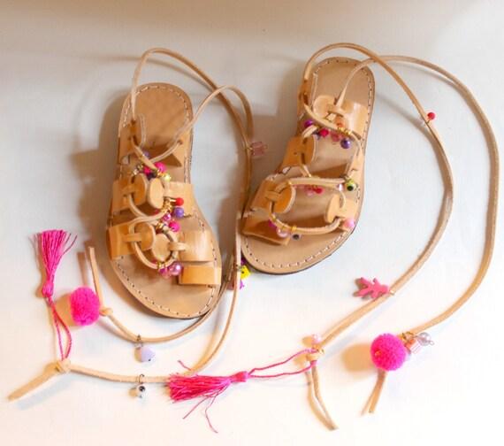 SALE! Kids Boho Sandals/Leather Gladiator Sandals for children  girls sandals sandales fille chaussures fille sandales grecques fille pompon