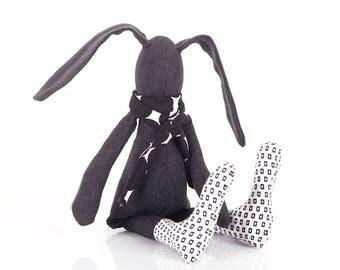 SMALL Baby bunny doll , plush stuffed doll , handmad eco fabric doll , black hare , cuddling stuffed rabbit doll , Crib Nursery Decor , eco