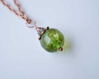 Watermelon Tourmaline Necklace, Antique Copper Necklace, Brown Necklace, Green Necklace, Minimalist Necklace