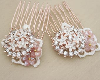 Set of two rose gold hair combs,floral comb, bridal hair comb, bridesmaids hair comb, rose gold and blush combs, Sample Sale