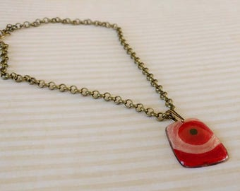 Red Yarn in Resin Pendant on Antiqued Gold Plated Brass Chain