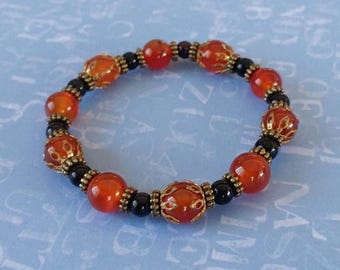 Red and Black Agate Orange Gemstone Bracelet With Antiqued Gold-Plated Brass Accents