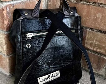 Caution explicit language  - F**k Everyone Leather Backpack in leather - Laurel Dasso