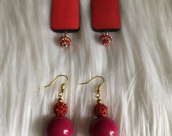 Statement original modern  design elegant Christmas Labor Day holiday firework Crystal clear ball red drop dangle  earrings