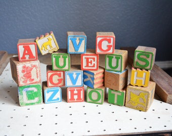 Vintage Collection of 20 Wooden Letter Blocks Wood Animal Disney Boys Girls Nursery Antique Lot Red Green Blue Yellow Small