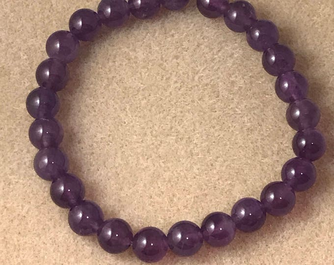 Amethyst Bracelet, African Amethyst, Stretch Bracelet, 8mm Bead Bracelet, Violet Amethyst, Amethyst Beaded Bracelet, Genstone Bracelet