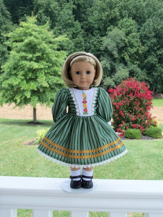"SUPER SATURDAY SALE !  Embroidered Autumn Dress / Doll Clothes for American Girl® Kit, Melody, Maryellen or Other 18"" Doll"