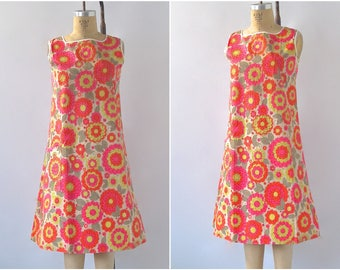 FLOWER CHILD Vintage 60s Paper Dress | 1960's Paper Shift Dress | Hallmark | Flower Power, Mod, Summer of Love | Size Small/Medium