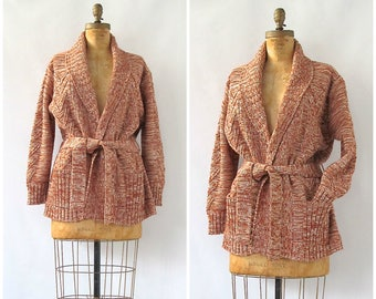 COZY DOES IT Vintage 70s Sweater | 1970s Chunky Acrylic Knit Cardigan by Mervyn's Partners | Variegated Yarn | Hipster, Boho, Hippie | Large