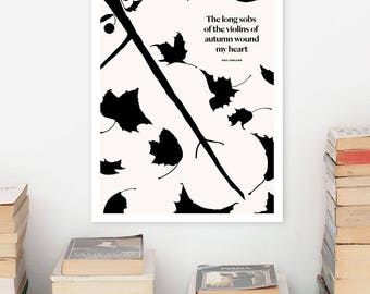 PAUL VERLAINE, Literary Quotes Poster Quote, Black and White Art Illustration, Large Wall Art Prints, Typography Print, Literary Gifts