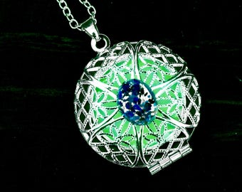 Glow in the Dark Locket with Blue Glass Opal