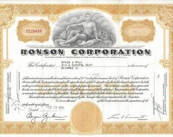 Vintage Ronson Corporation Original Stock Certificate (gold), 1970-1980's