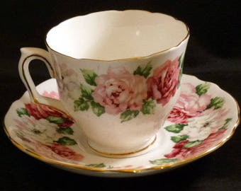 Vintage Crown Staffordshire England Trinity Rose Footed Cup and Saucer, 1940s