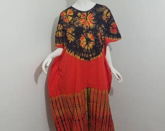 Tie-dyed orange African print caftan dress (size: one-size-fits-most)