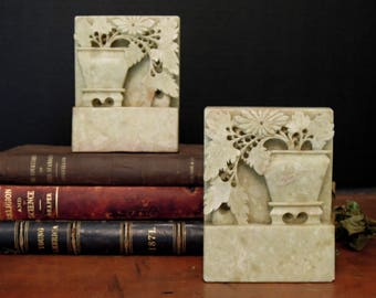 Vintage Antique Chinese Soapstone Hand-Carved Bookends / Asian Carved Bookends / Asian Decor