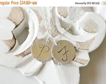 SALE - Initial Necklace, Personalized Jewelry, Custom Monogram Necklace, Large Disc, Smooth or Hammered Edge, Mothers Necklace, Family Jewel