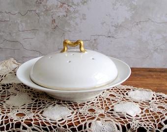 Limoges Crepe Server with Vented Dome Lid , Pancake Dish ,  B & Co. Limoges France , Bernardaud and Co. , White Gold Trim Limoges Porcelain