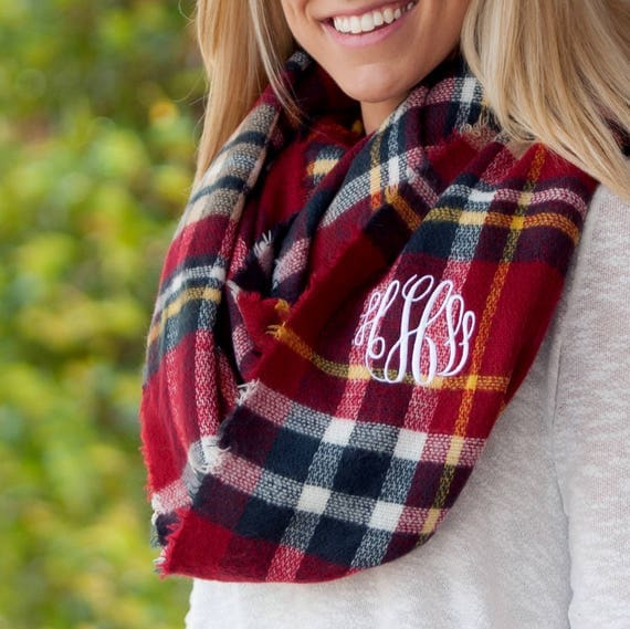 Londyn Infinity Scarf in Navy Blue and Garnet Red Plaid