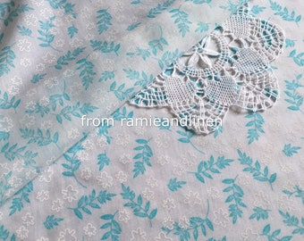 """silk fabric, blue leaves print Silk cotton blend fabric, one yard by 53"""" wide"""