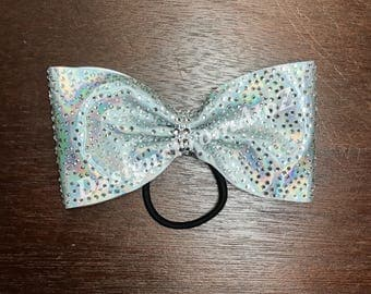 NEW Silver Rhinestone Tailless Cheer Bow