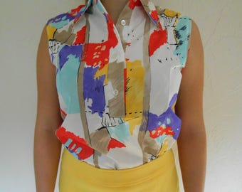 Vintage 1960s GABEY of New York abstract half-button collared tank top, size Me