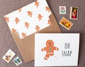 Oh Snap Gingerbread Man Greeting Card | Funny Christmas Card with Broken Cookie | Happy Holidays Greeting Card | Funny Get Well Soon Card