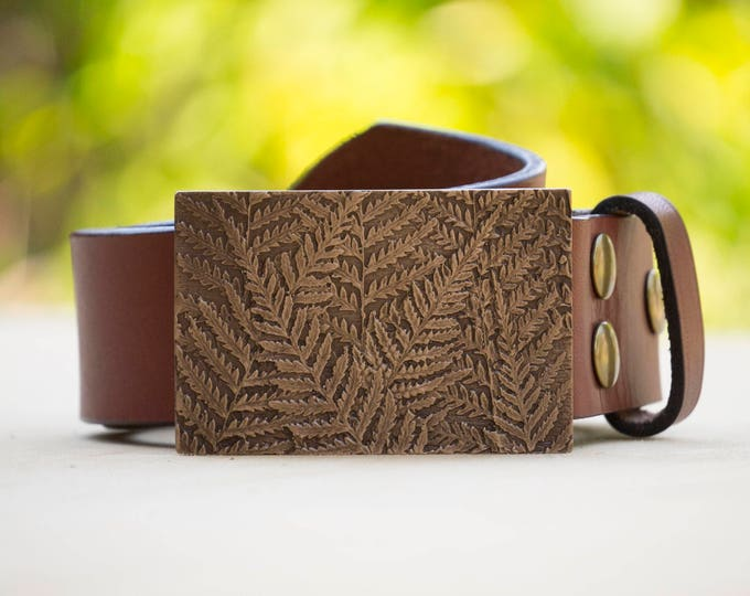 "Fern 2.0"" Bronze Belt Buckle and Top Grain Leather Strap"