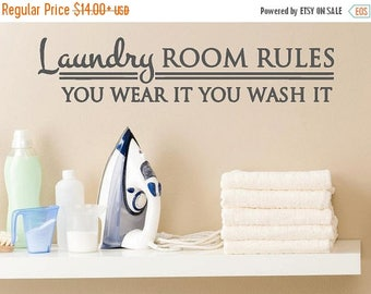 20% OFF Laundry ROOM RULES -Vinyl Lettering wall words graphics Home decor itswritteninvinyl