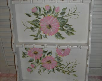 Hand Painted Distressed White W/Pink Daisy's Wood Spoon Rack