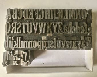 Letterpress Alphabet with Upper + Lower Case Letters and Punctuation for Printing Stamping and Clay Stamping