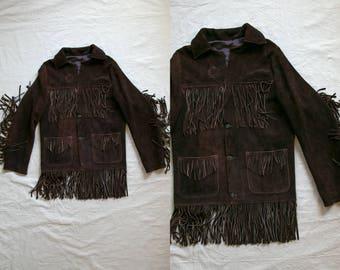 Vintage 1970's Brown Suede Long Fringe Button Up Leather Jacket / Men's Medium Large / Hippie Boho Retro/ Motorcycle Jacket