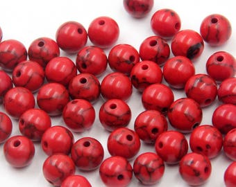 8mm 300Pcs Red Howlite Turquoise Beads Loose Finding For Handwork-- ja2024