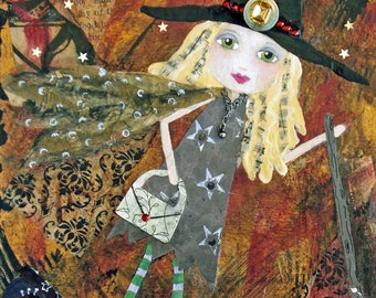 DOMESTIC WITCH, Little Witch, ACEO, Mini Art Print, Halloween, Art, Girl Friend, Gift Card, Trading Card, Mixed Media Print, Art Card